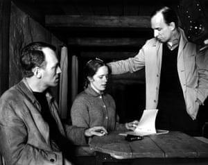 Max Von Sydow, Liv Ullmann and director Ingmar Bergman on the set of Shame, 1968
