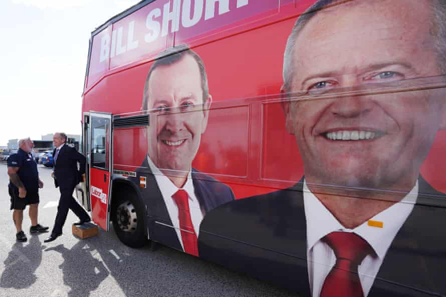 The opposition leader, Bill Shorten, arrives at a Volgren bus facility in the federal seat of Cowan in Perth