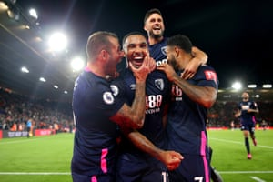 Callum Wilson of AFC Bournemouth celebrates after scoring his team's third goal in a comfortable Friday night win over Southampton which briefly moved Eddie Howe's team into the top four.