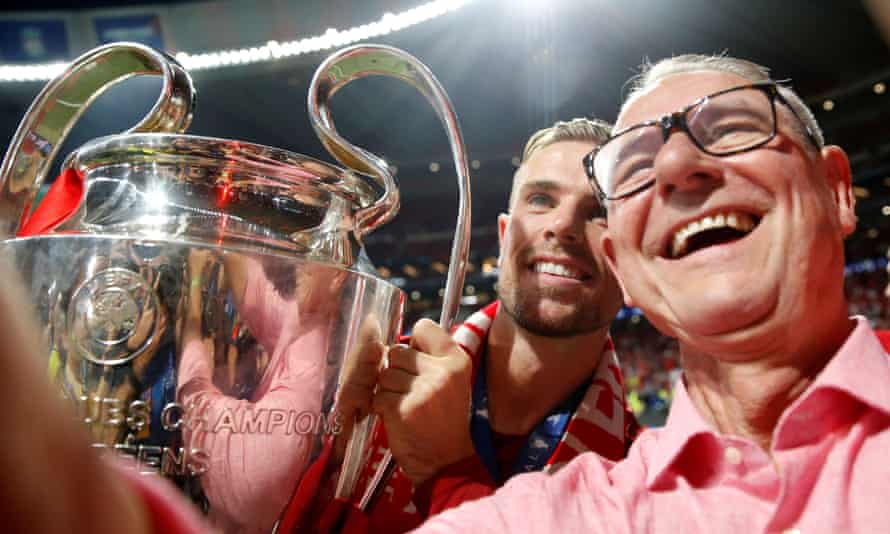 Jordan Henderson with his father Brian after winning the Champions League final.