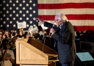 Bernie Sanders addresses supporters during Bernie's Big New Year's Bash held at the Des Moines Marriott.