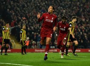 Virgil van Dijk of Liverpool celebrates scring his second of the night.
