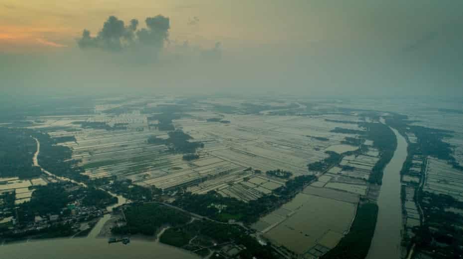 Aerial view of Bangladesh's coastline.