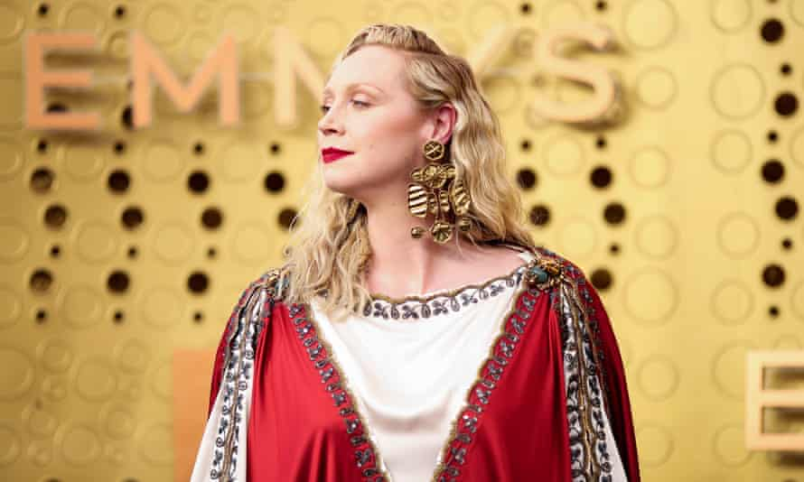 Then and now … Gwendoline Christie at the Emmy awards.