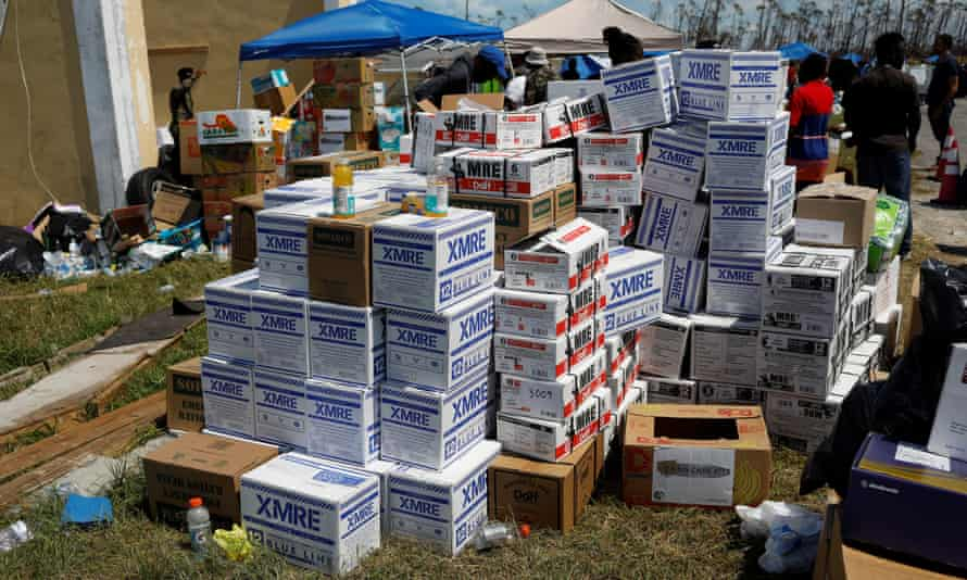Boxes of meals ready-to-eat (MRE) are seen at an airport during an evacuation operation after Hurricane Dorian hit the Abaco Islands in Treasure Cay, on 7 September.