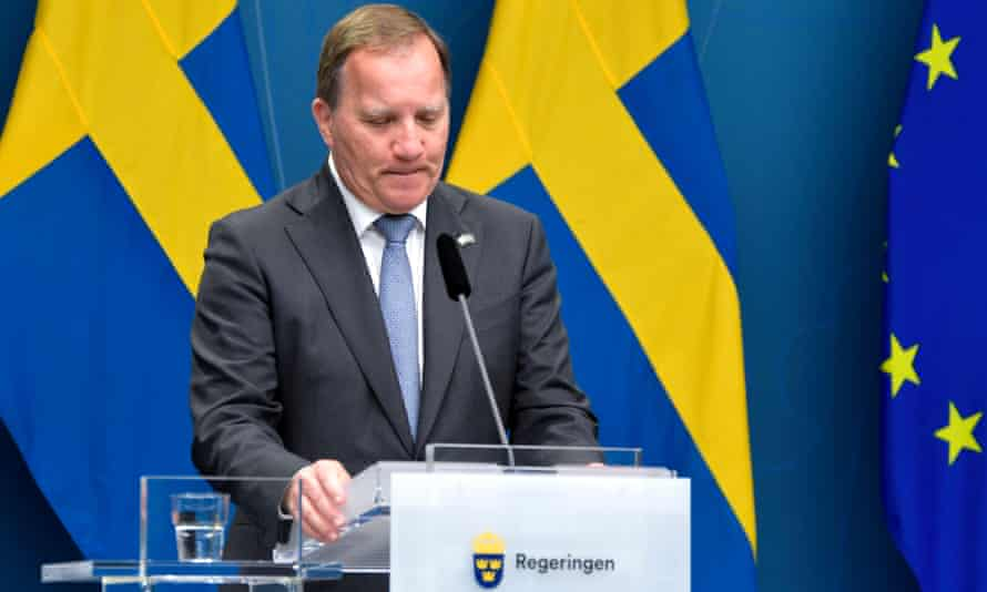 Stefan Löfven speaks during a press conference after the no-confidence vote on Monday