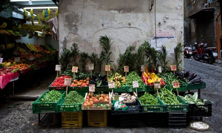 Fresh produce at a street market stall in Naples, Italy.