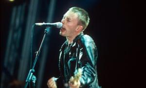 Thom Yorke at Radiohead's 1997 Glastonbury gig.