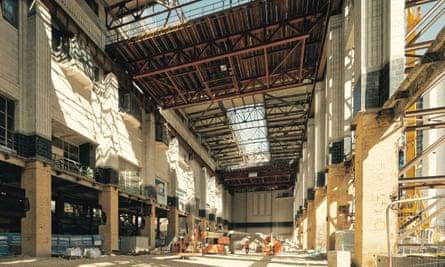 Construction work inside Battersea Power Station.