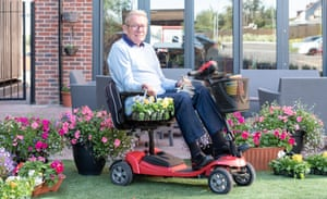 Alan Wheatley has added his own gardening touches to the communal garden area at Mears Social care home in Northampton, photographed by Michael Leckie for Guardian Labs, September 2019Alan Wheatley at Mears Social care home in Northampton, photographed by Michael Leckie for Guardian Labs, September 2019