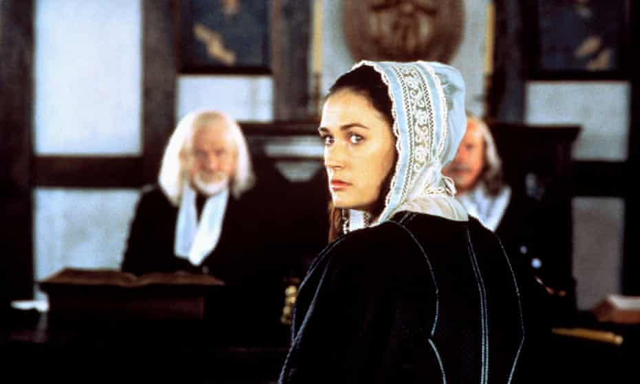 Demi Moore as hester Prynne, in Roland Joffé's 1995 film of The Scarlet Letter.