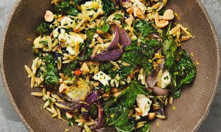 Yotam Ottolenghi's kale and hazelnut 'pesto' with feta, orzo and red onion.