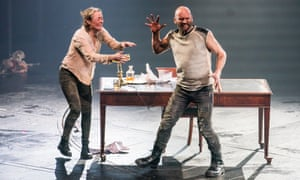 Penny Layden as Rosse and Patrick O'Kane as Macduff in Macbeth at the Olivier, National Theatre, directed by Rufus Norris.