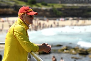 A surf rescue guard on patrol at Bronte Beach, south of Bondi.