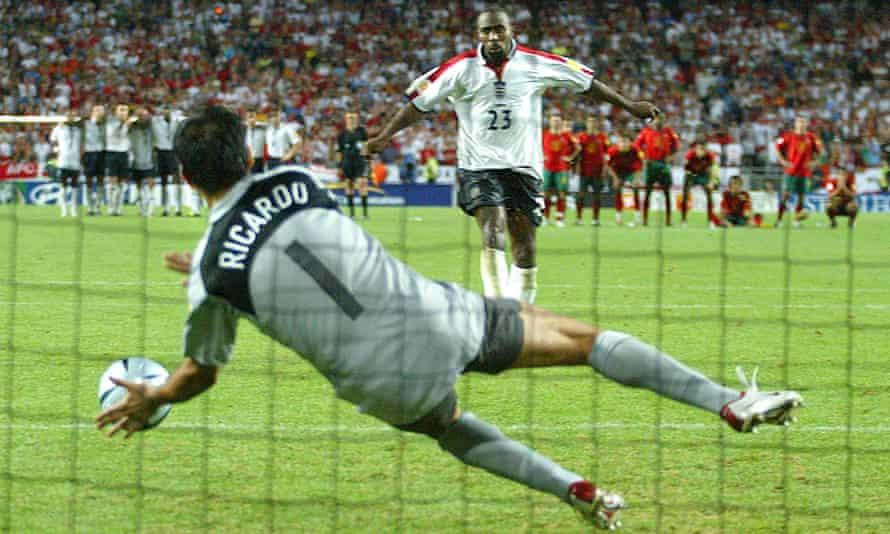 Ricardo saves Darius Vassell's penalty at Euro 2004.