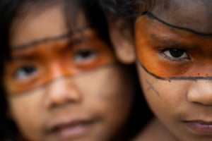 Alto Jamari, Brazil Indigenous children are seen with paint on their faces during a meeting in the village of Alto Jamari which was called to address the threat of armed land grabbers invading the Uru-eu-wau-wau Indigenous Reservation