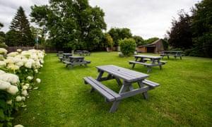 A beer garden in Crickhowell, Wales