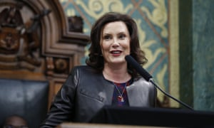 Gretchen Whitmer delivers her State of the State address to a joint session of the House and Senate at the state Capitol in Lansing, Michgan, in January, 2020.