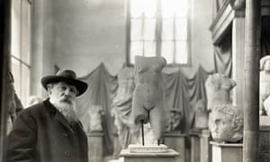 Auguste Rodin in his Museum of Antiquities at Meudon on the outskirts of Paris, about 1910.