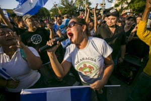 Peaceful protests in Managua, Nicaragua, calling for the resignation of the president and the vice-president