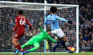 Leroy Sané fires home the decisive goal for Manchester City against Liverpool.