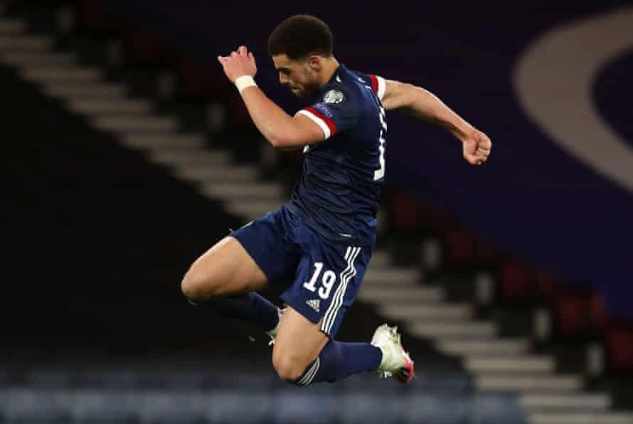 Scotland's Che Adams celebrates scoring his first international goal.