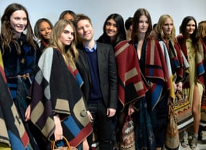 Christopher Bailey (centre) at London Fashion Week in 2014