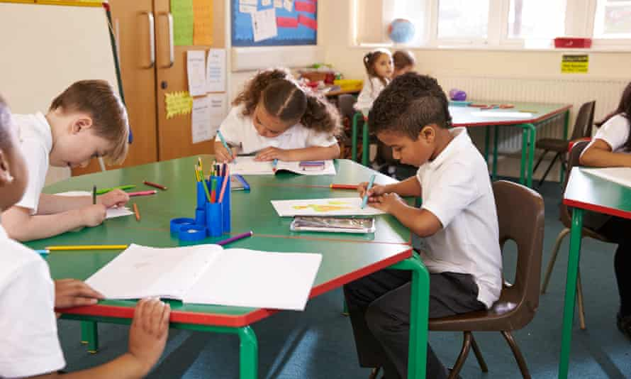 primary school age boys and girls in class