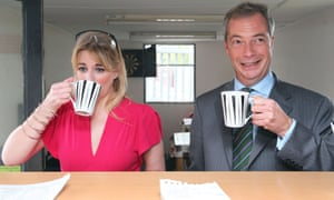 Alexandra Phillips and Nigel Farage in a cafe in Doncaster in 2014.