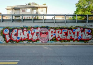 """Milan, Italy You could easily miss this – it's one more bit of chunky writing among Milan's many stylistically similar slogans. """"I can't breathe,"""" says a wide open mouth. But perhaps its comparative anonymity is telling. The cry has more than one resonance in an Italy that's just emerging from lockdown into a face masked world. Racism and Coronavirus both haunt this choking plea."""
