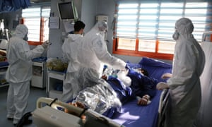 A patient being treated in hospital in Tehran.