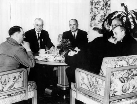 Thomas J. Watson, head of IBM and president of the International Chamber of Commerce and members of the board of the ICC meet with Adolf Hitler in Berlin, Germany, in 1937.