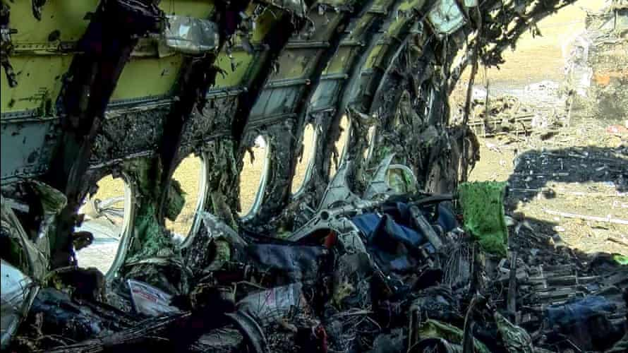 The plane's destroyed fuselage.