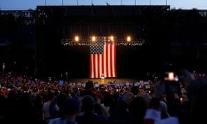 Donald Trump speaks at the rally in Costa Mesa, California.
