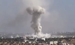 Video frame grab showing smoke after an airstrike on  Haas, Syria.