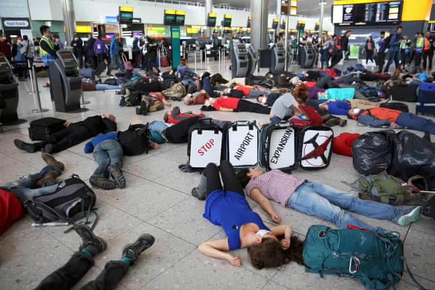 The protest took place during a busy day at Terminal 2.