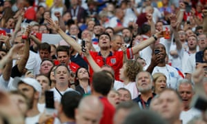 England fans get into the spirit of things during the semi-final at the Luzhniki Stadium