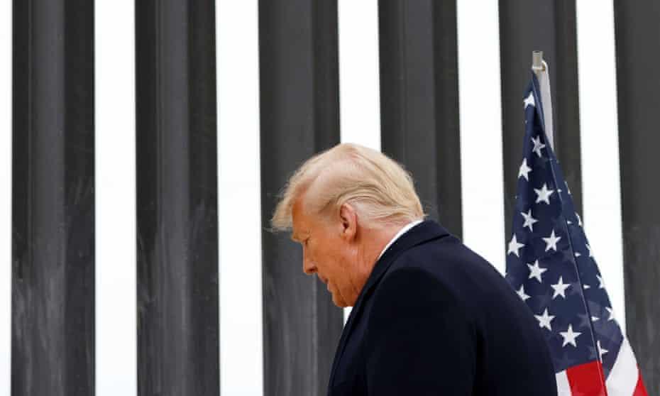 Donald Trump visits the US-Mexico border wall, in Alamo, Texas.