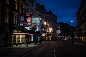 Shaftesbury Avenue, the centre of London's 'theatreland', without its usual crowds