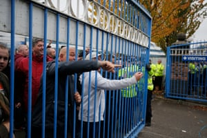 Villa fans goad the opposition from inside the away fans enclosure