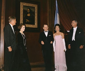 JFK and Jackie Kennedy at the unveiling of the Mona Lisa at the National Gallery of Art in Washington DC in 1963.