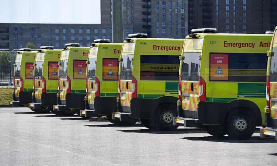 Ambulances parked at the NHS Nightingale hospital in east London