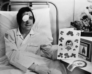 Stoke City and England goalkeeper Gordon Banks recuperates at the North Staffordshire Infirmary, Stoke-on-Trent, following a car crash which cost him the sight in his right eye