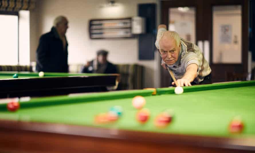 Tony Thorpe plays snooker at the Royal British Legion.