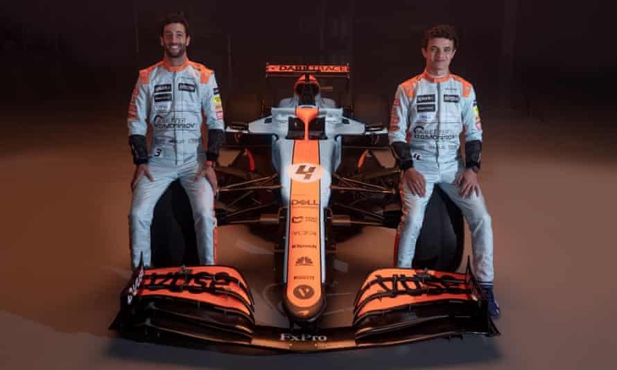 Lando Norris and Daniel Ricciardo at the unveiling of the special Gulf Oil livery the team will use on their cars at the Monaco Grand Prix