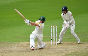 Beth Mooney of Australia in action as she hits 11 off the over.