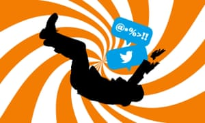 Illustration of figure in free fall with Twitter logo