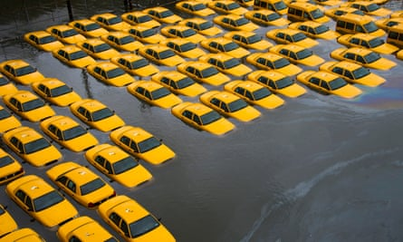 A parking lot full of cabs in New Jersey is flooded as a result of Hurricane Sandy.