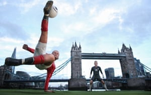 Wayne Rooney's bicycle kick against Manchester City is brought to life on the Thames, with Tower Bridge as the goal, at Amazon Prime's launch.