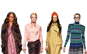 Anna Sui, Paul and Joe, Gucci, Jonathan Saunders catwalk images with glasses
